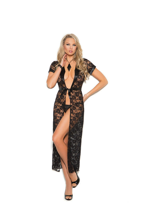 Lace robe with satin accents and matching g-string.