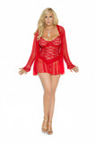 Lace babydoll with underwire cups, adjustable straps and mesh hem.