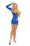 One shoulder mini dress features side cutouts and silver gem stones
