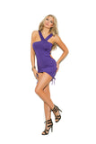 Women Asymmetrical mini dress with adjustable scrunch sides and  ruching.