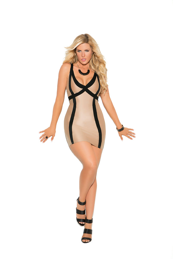 Lycra mini dress with contrast trim and double shoulder straps.