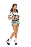 Prep School Priss - 4 pc. costume includes short sleeve  mini dress with belt, suspenders and tie with attached collar.