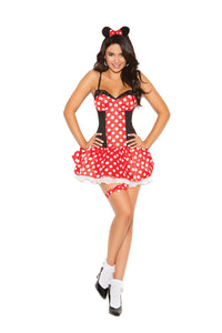 Miss Mouse - 3 pc. costume includes mini dress, head piece and leg garter.