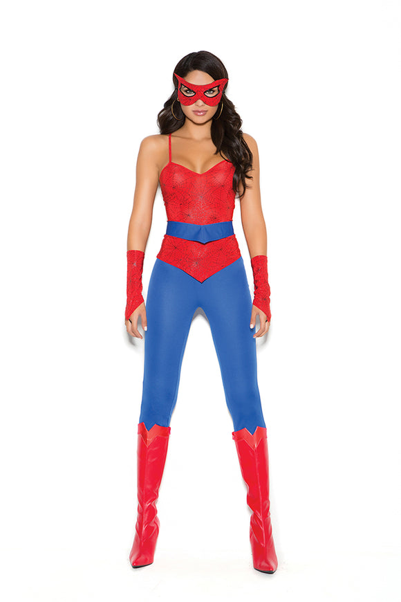 Spider Super Hero - 5 pc. costume includes cami top, pants, belt, mask and fingerless gloves.