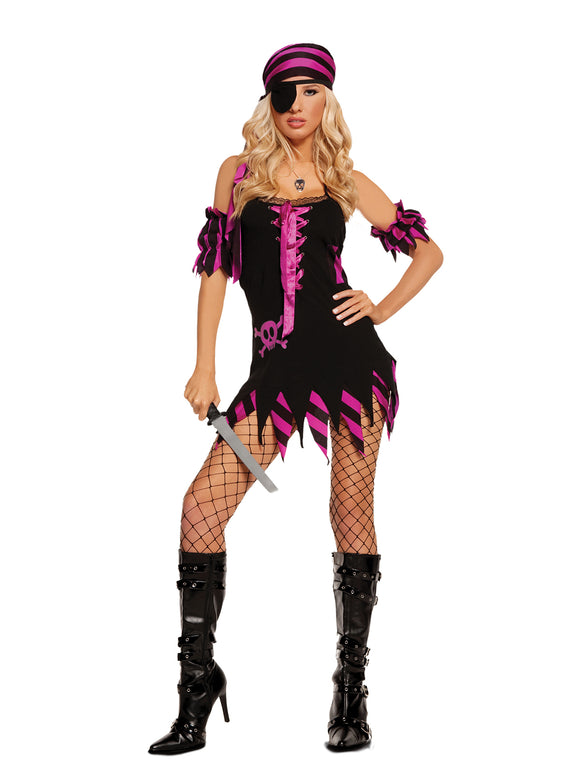 Shipwrecked Wench - Black Light Receptive. 4 pc. costume includes dress, arm bands, head scarf and eye patch.