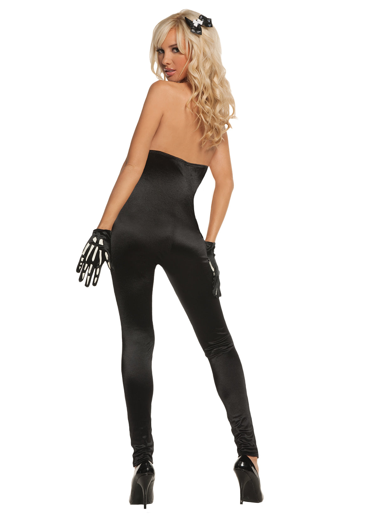 a02e4e3ec94 Sexy Skeleton - Glow in the dark. 3 pc. costume includes jumpsuit, gloves  and hair pin.
