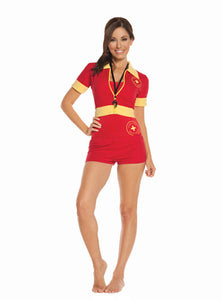 Women Beach Patrol - 4 pc. costume includes one piece swimsuit,  booty shorts, zip front short sleeve jacket and whistle.