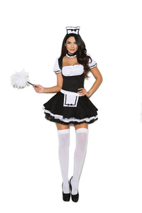 Mistress Maid - 3 pc. costume includes mini dress with attached apron, head piece and neck piece.