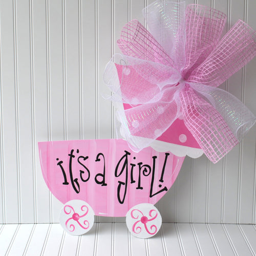 Girl Hospital Door Decoration, Baby Carriage, Baby Girl Door Hanger, Custom Baby Door Hanger