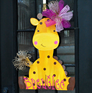 Baby Door Hanger: Giraffe Door Hanger, Door Decoration, Summer Wreath, Giraffe Decor