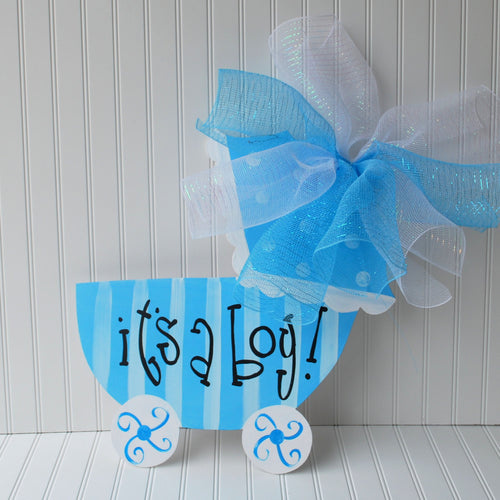 Baby Boy Hospital Door Decoration, Baby Carriage, Baby Boy Door Hanger, Custom Baby Announcement