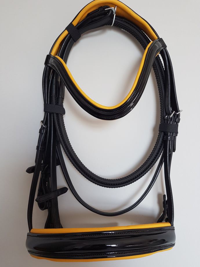 Cavesson Bridle - Black Patent Leather with Yellow  Full, Cob, Pony