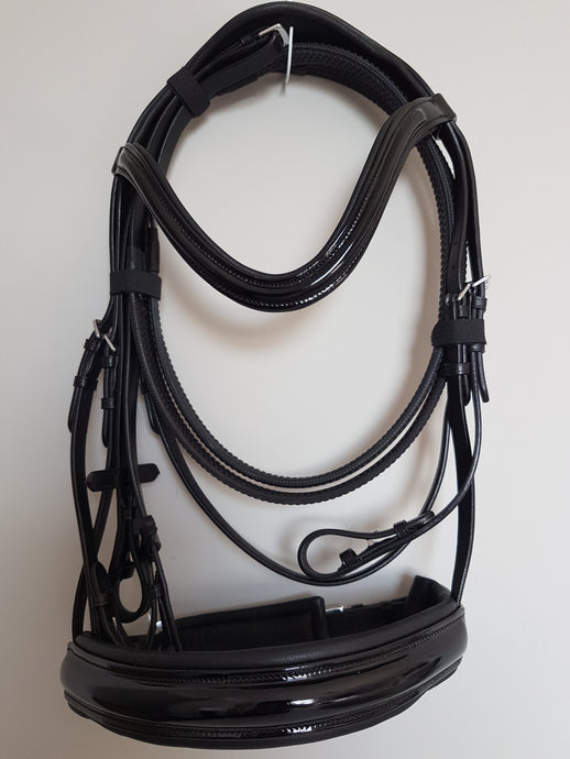 Cavesson Bridle - All Black Patent  Full, Cob, Pony