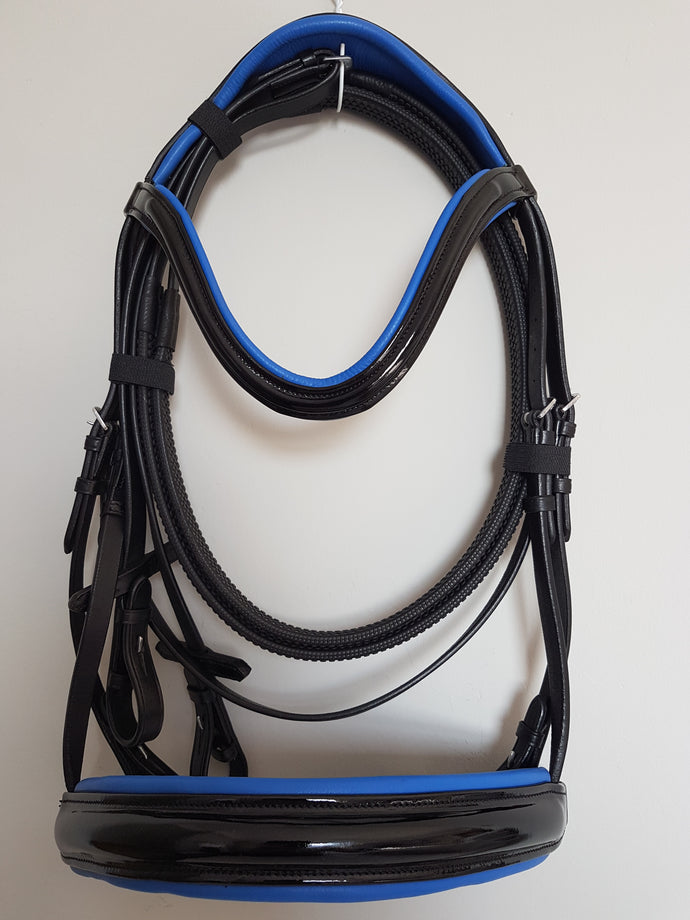 Cavesson Bridle - Black Leather Patent with Blue  Full, Cob, Pony
