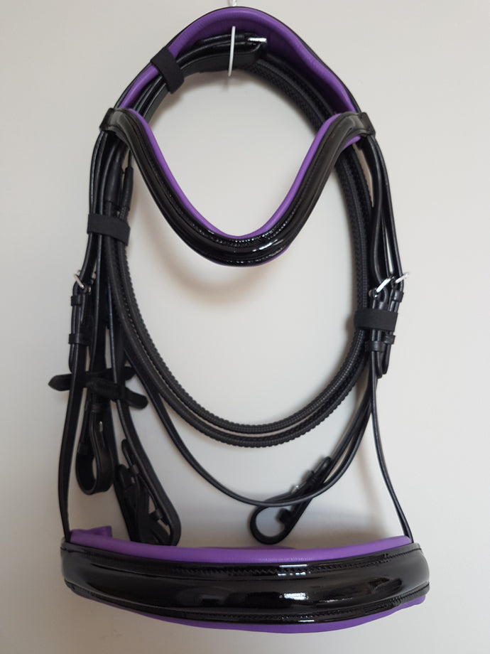 Cavesson Bridle - Black Patent Leather with Purple  Full, Cob, Pony
