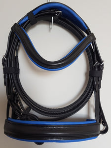 Cavesson Bridle - Black Leather with Blue Full, Cob, Pony