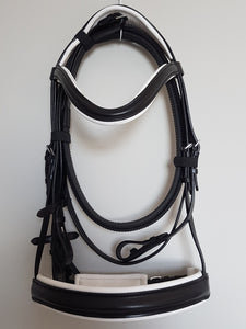 Cavesson Bridle - Black Leather with White Full, Cob, Pony