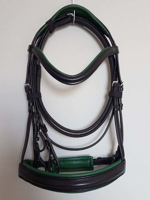 Cavesson Bridle - Black Leather with Green Full, Cob, Pony
