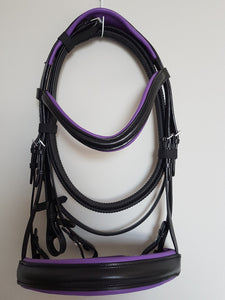 Cavesson Bridle - Black Leather with Purple Full, Cob, Pony