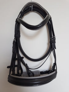 Cavesson Bridle - Black Leather with Grey Full, Cob, Pony