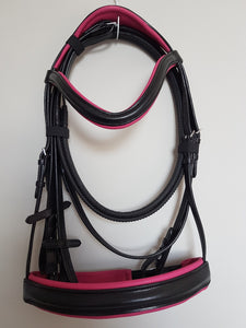 Cavesson Bridle - Black Leather with Pink Full, Cob, Pony