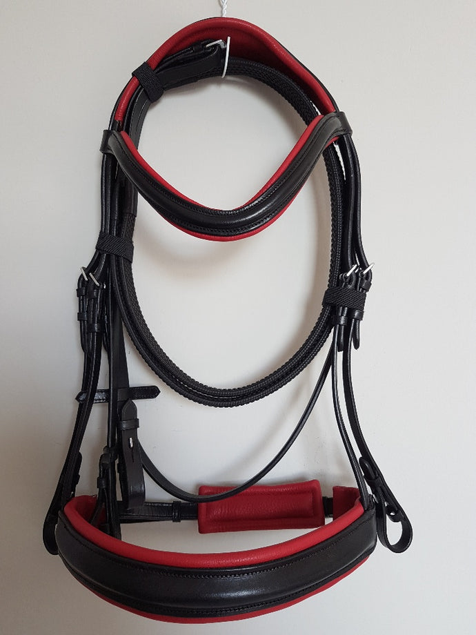 Cavesson Bridle - Black Leather with Red  Full, Cob, Pony