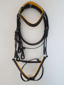 Grackle Bridle - Black Leather with Yellow  Full, Cob, Pony