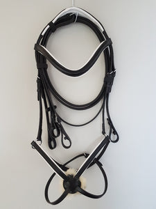 Grackle Bridle - Black Leather with White  Full, Cob, Pony