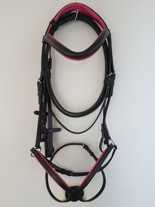 Grackle Bridle - Black Leather with Pink  Full, Cob, Pony