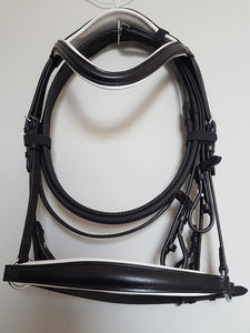 Drop Noseband Bridle - Black leather with White  Full, Cob, Pony