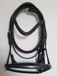 Drop Noseband Bridle - Black Leather with Green  Full, Cob, Pony