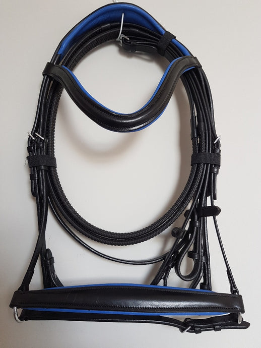 Drop Noseband Bridle - Black Leather with Blue  Full, Cob, Pony