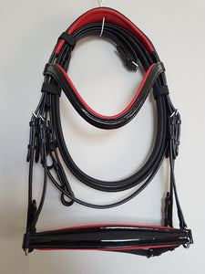 Drop Noseband Bridle - Black Patent Leather with Red  Full, Cob, Pony