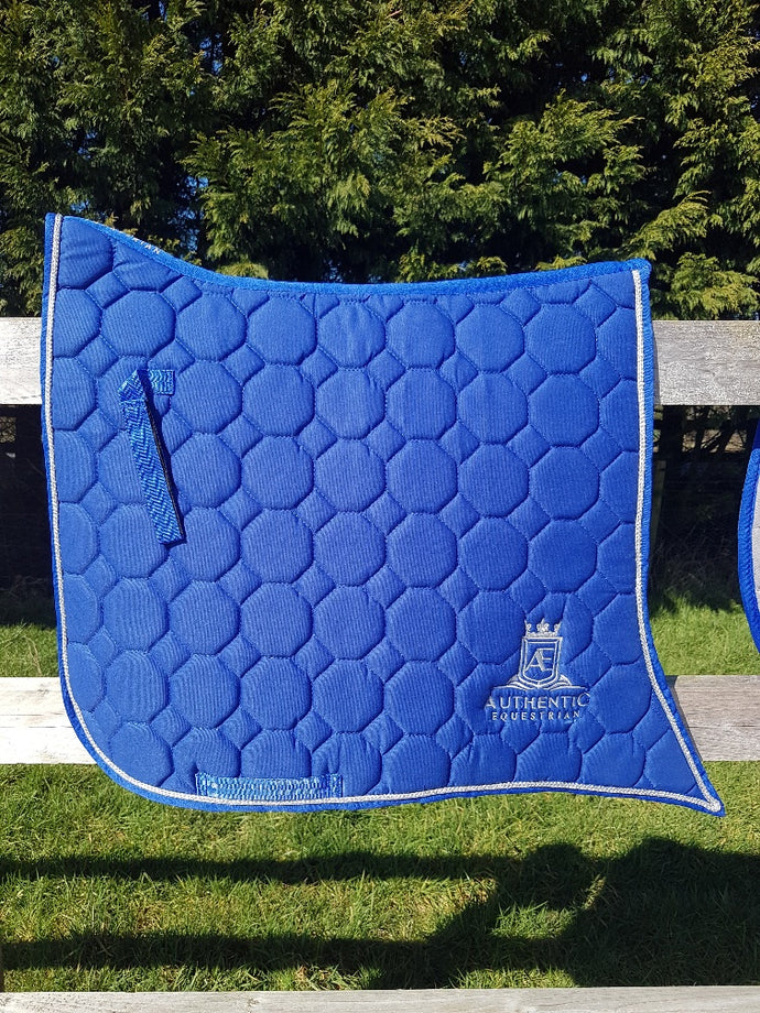 Spanish Saddle Pads - Blue with silver edging