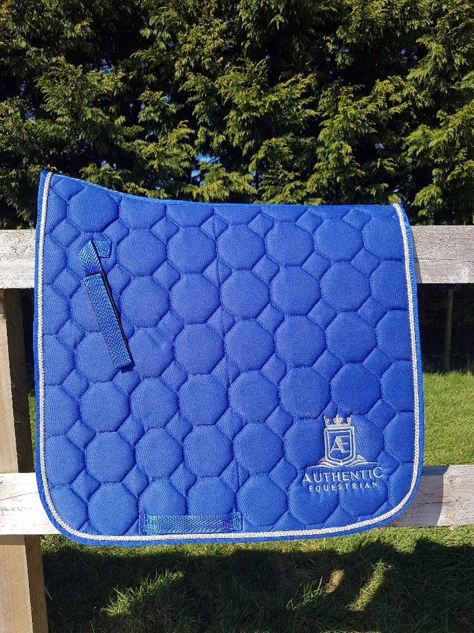 Dressage Saddle pad - Blue with silver edging