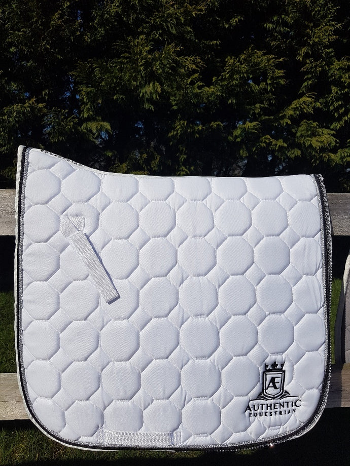 GP Saddle Pad - White with diamonte, silver and black edging
