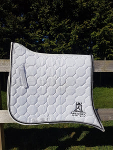 Spanish Saddle Pad - White with diamonte, silver and black edging