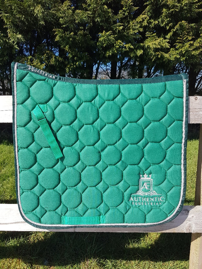 Dressage Saddle Pad - Green with silver edging