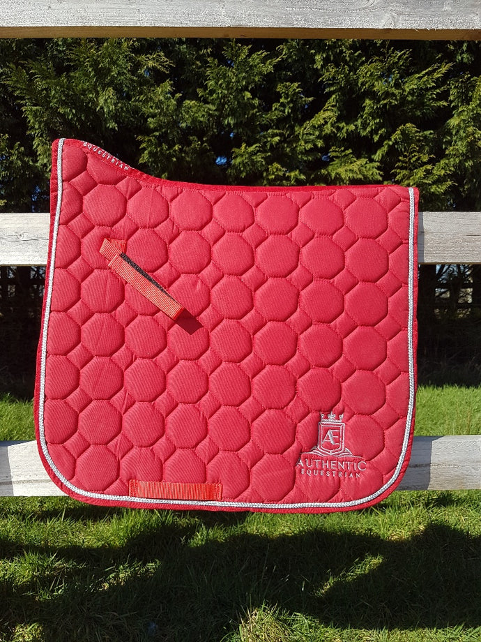 Dressage Saddle Pad - Red with silver edging