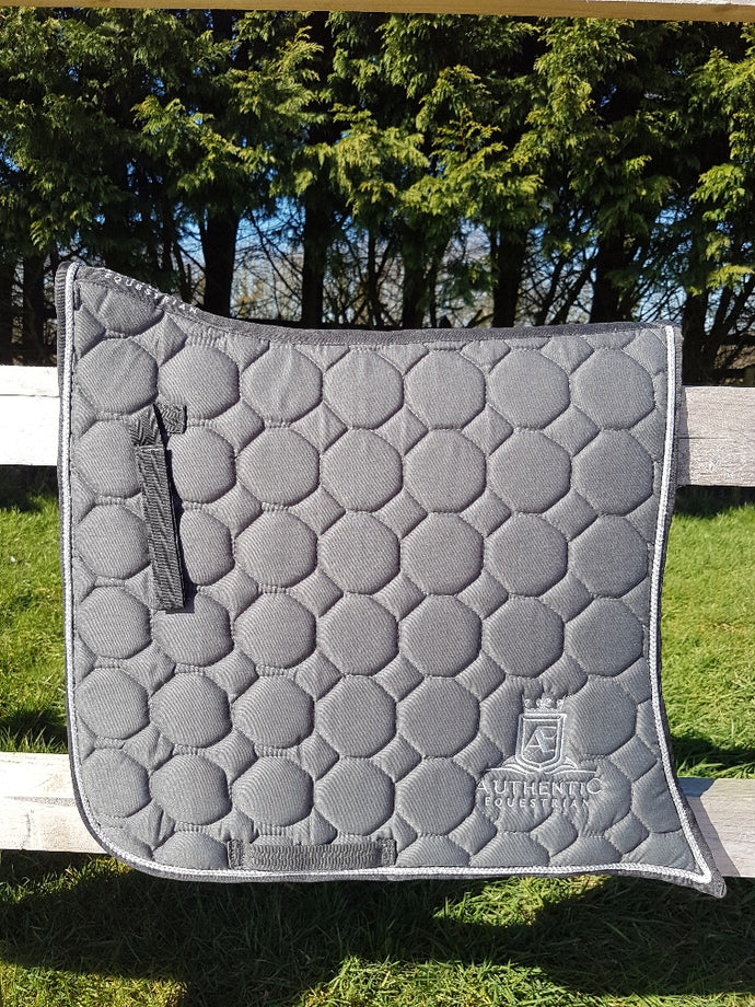 Spanish Saddle Pad - Grey with silver edging