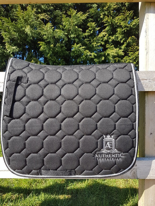 Dressage Saddle Pad - Black with silver edging