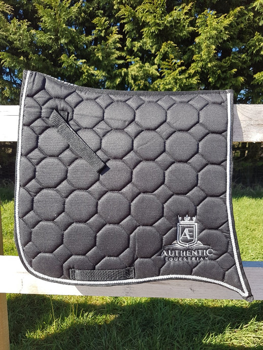 Spanish Saddle Pad - Black with silver edging