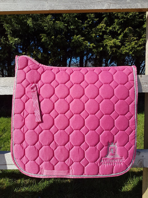 Dressage Saddle Pad - Pink with silver edging