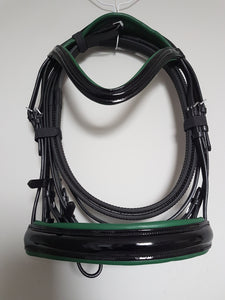 Cavesson Bridle - Black Patent Leather with Green  Full, Cob, Pony