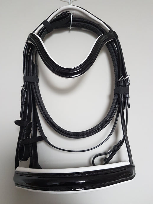 Cavesson Bridle - Black Patent Leather with White  Full, Cob, Pony