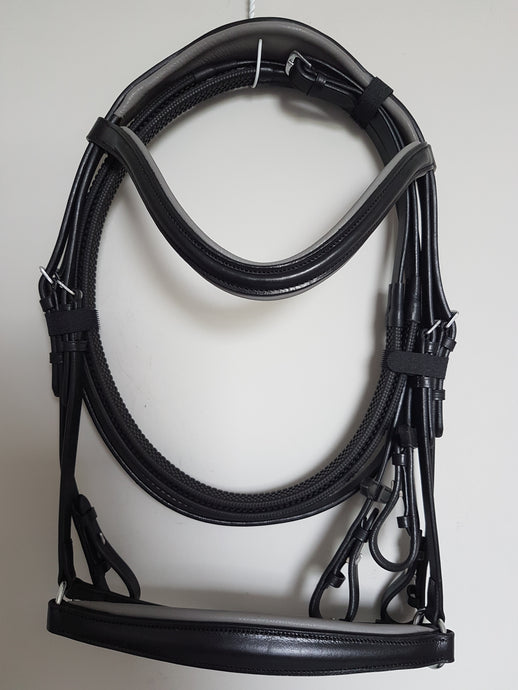 Drop Noseband Bridle - Black Leather with Grey  Full, Cob, Pony