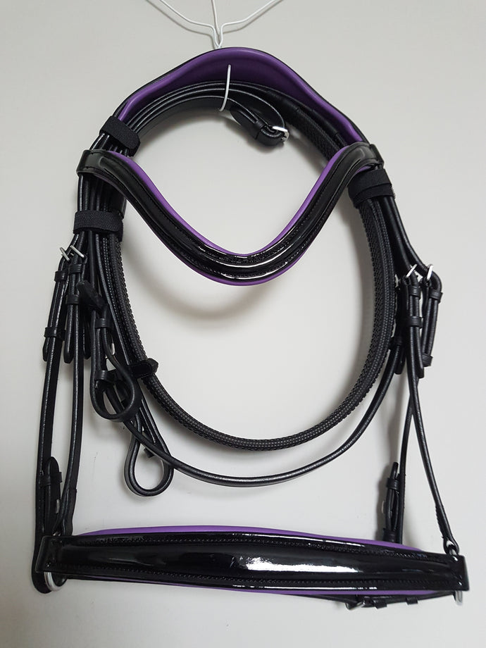 Drop Noseband Bridle - Black Patent Leather with Purple  Full, Cob, Pony