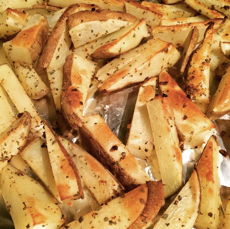 Oven-broiled homemade fries? Hell yes.