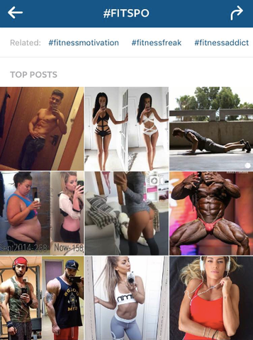 The top results of #fitspo on Instagram (out of over 28 million posts).