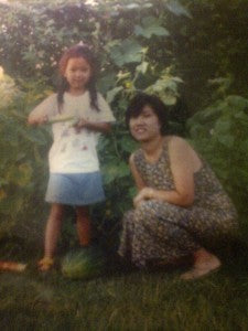 With my mom in our Chicago suburbs garden, 1996.
